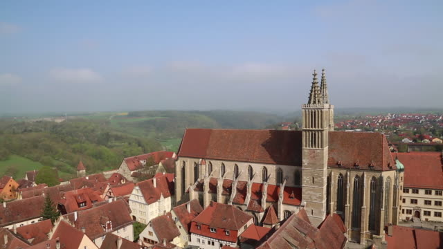 rothenburg ob der tauber, view of the city and saint jacob's church - rothenburg stock videos and b-roll footage