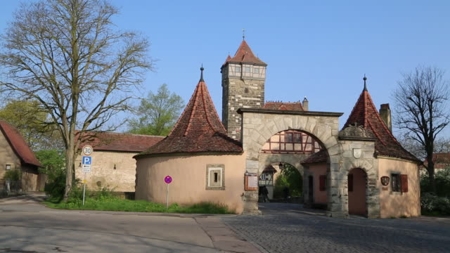 rothenburg ob der tauber, view of the roder gate  - rothenburg stock videos and b-roll footage
