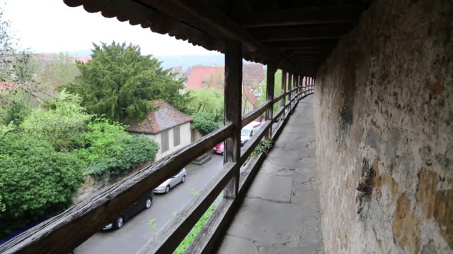 rothenburg ob der tauber, view of the walkway on the walls - rothenburg stock videos and b-roll footage