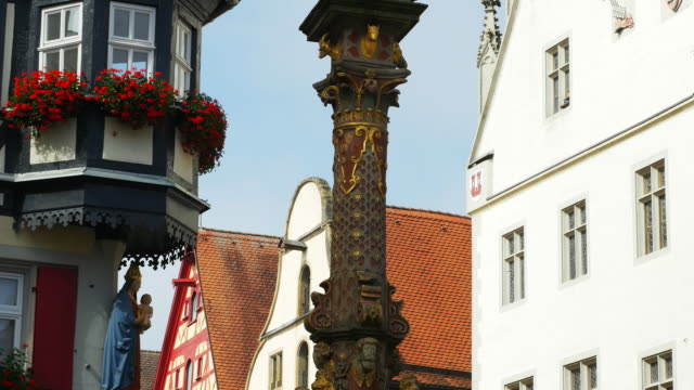 tu rothenburg st. george fountain between marienapotheke and the city hall - romantic road germany stock videos and b-roll footage