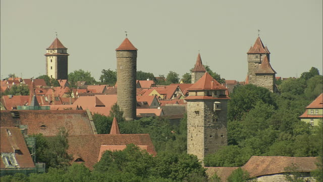 rothenburgs town wall and towers - rothenburg stock videos and b-roll footage