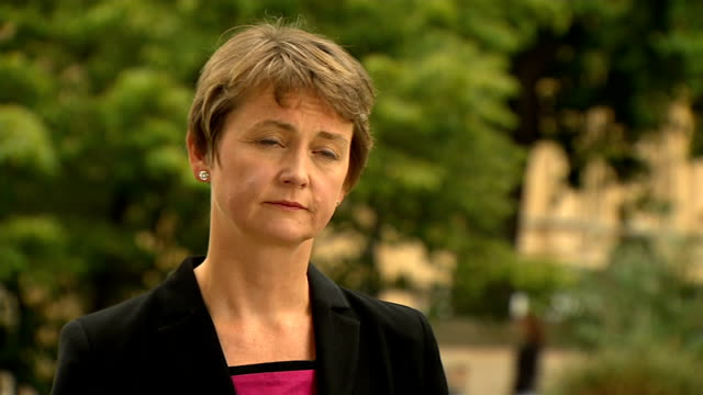 yvette cooper interview england london westminster ext yvette cooper setup shots yvette cooper interview sot - rotherham stock videos & royalty-free footage