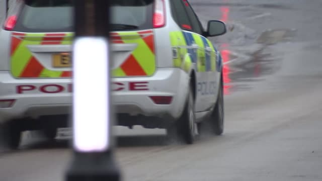 first convictions ext police car away along road police station - rotherham stock videos & royalty-free footage