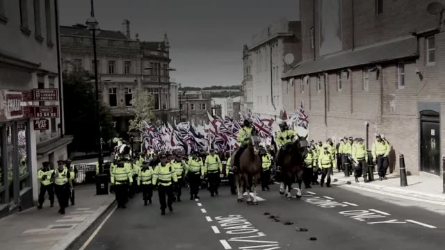 trial begins september 2015 britain first supporters along on march with police escort - rotherham stock videos & royalty-free footage