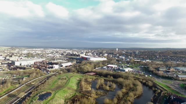 rotherham skyline aerial video - sheffield stock videos & royalty-free footage