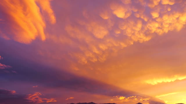 rotor cloud and festoon (mammatocumuli) clouds at sunset - dusk stock videos & royalty-free footage