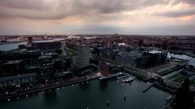 rotterdam at twilightt - rotterdam stock videos and b-roll footage