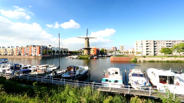 rotterdam delfshaven with windmill and sailboats - rotterdam stock videos & royalty-free footage