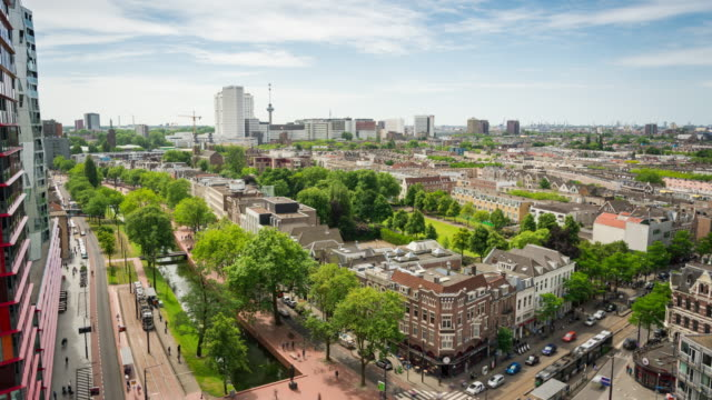 time lapse: rotterdam downtown and harbour skyline - veduta dall'alto video stock e b–roll