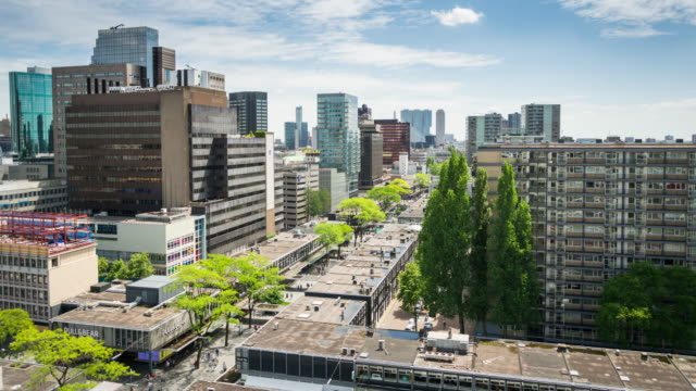 time lapse: rotterdam downtown shopping street - rotterdam stock videos and b-roll footage