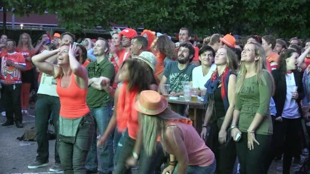 rotterdam fans blow off some steam after holding their breath during a dramatic shoot out as the netherlands edged costa rica 43 to reach the world... - oranje stock videos & royalty-free footage