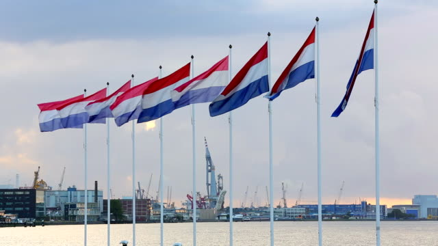 rotterdam industry with dutch flags - industrial ship stock videos & royalty-free footage