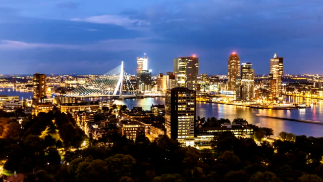 rotterdam skyline at night, zoom - shipyard stock videos & royalty-free footage