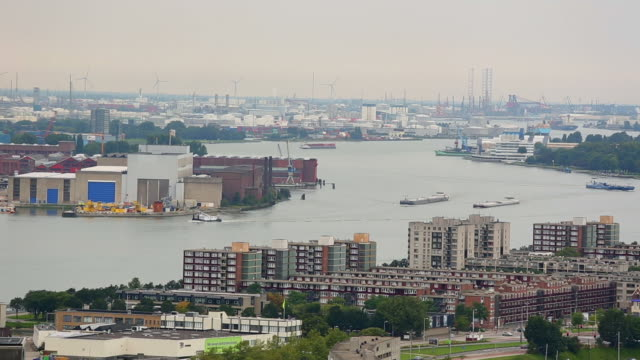 rotterdam skyline, industrial harbor, time lapse - rotterdam stock videos & royalty-free footage