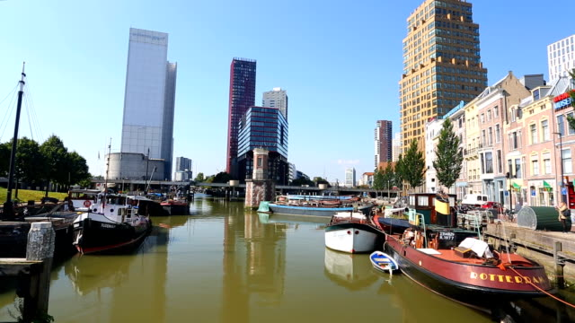 rotterdam skyline with ships, real time - rotterdam stock videos and b-roll footage