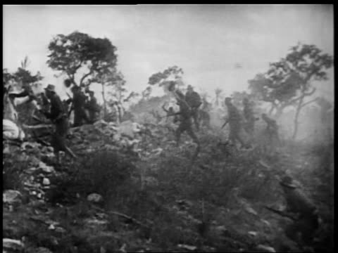 B/W 1898 REENACTMENT Rough Riders cheering upon reaching top of San Juan Hill / Spanish-American war