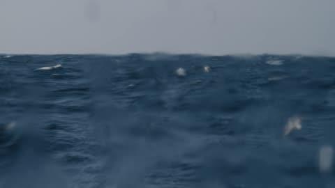 vídeos y material grabado en eventos de stock de mar áspero desde una ventana de velero, olas estrellándose - barco pesquero