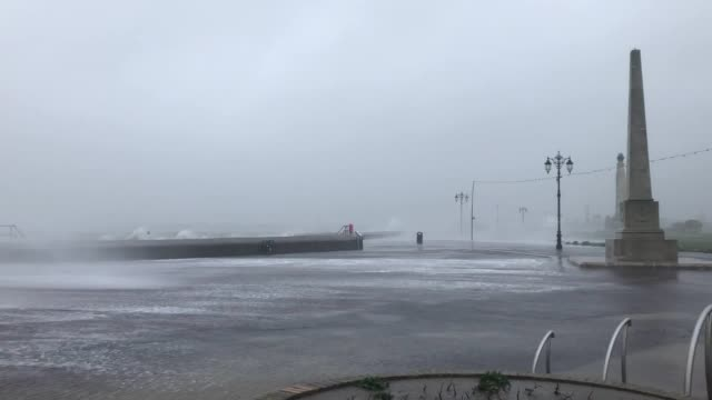 rough seas and high waves lash the southsea coast as weather warnings have been issued across the country amid forecasts of very strong gusts and the... - ciara stock videos & royalty-free footage