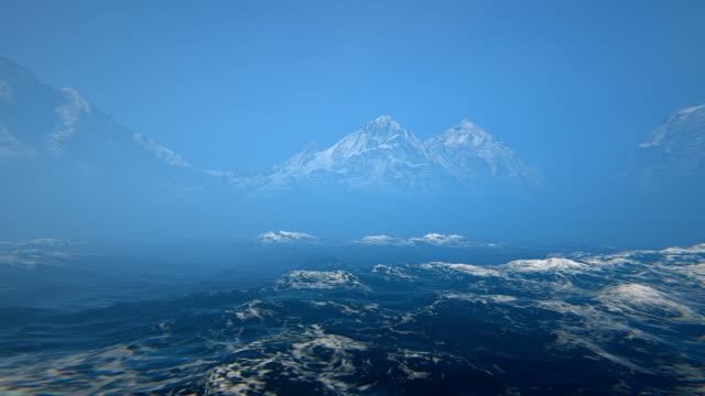 Sjögång och snötäckta berg