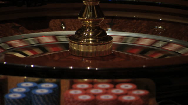 A roulette wheel spins at Sun City Casino.