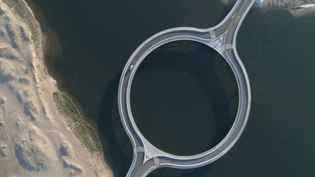 Round bridge at the seashore