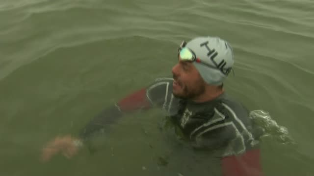 ross edgley plans to swim britain's coastline in 100 days at ross edgley interview as treading water at sea sot - ross sea stock videos & royalty-free footage