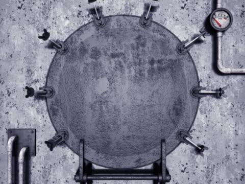 round metal door. - heckklappe teil eines fahrzeugs stock-videos und b-roll-filmmaterial
