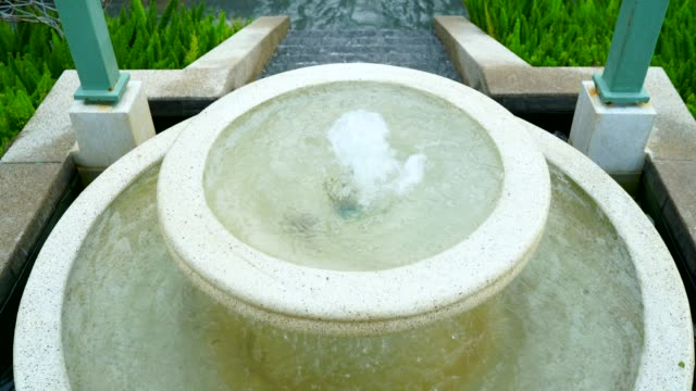 4K Round shaped fountain with 2 floors Made of marble is Beautifully