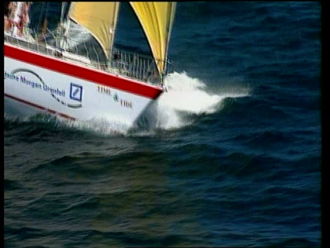 Disabled crew complete second leg PACIFIC OCEAN Cook Straits EXT General views 'Time and Tide' crew along at sea off coast of New Zealand