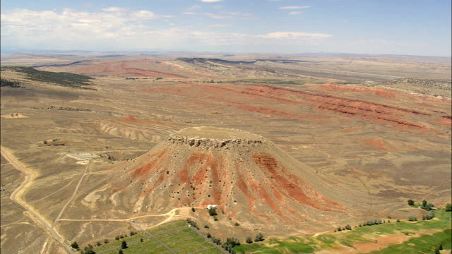 Round Top Butte  - Aerial View - Wyoming,  Hot Springs County,  helicopter filming,  aerial video,  cineflex,  establishing shot,  United States
