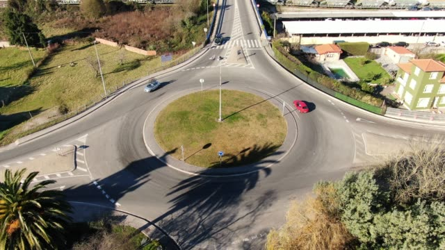 roundabout as seen from above - roundabout stock videos & royalty-free footage