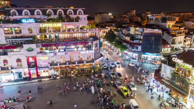 Roundabout at Old Quarter in Hanoi, Vietnam, High Angle View Time Lapse Video