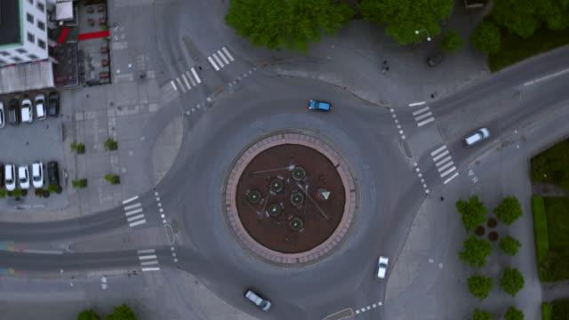 AERIAL: A roundabout, Eskilstuna city
