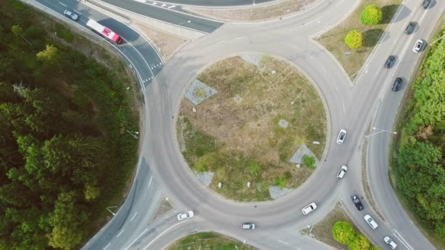 Roundabout, traffic intersection, Kista, Stockholm