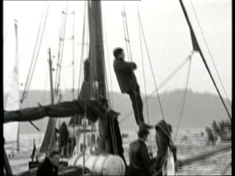 history file / tx 28567 plymouth b/w archive sir francis chichester's yacht gypsy moth iv at sea with flotilla of small craft as completing his solo... - tauwerk stock-videos und b-roll-filmmaterial
