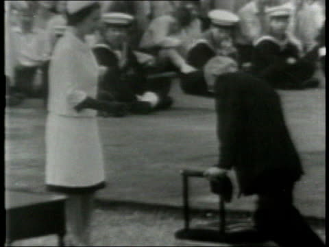 history file / tx greenwich w archive footage of francis chichester roundtheworld yachtsman knighted by queen yacht gypsy moth iv on thames at... - francis chichester stock videos & royalty-free footage