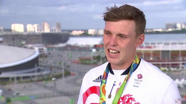 roundup of day 5 british medals; joe clarke interview sot - 5日目点の映像素材/bロール