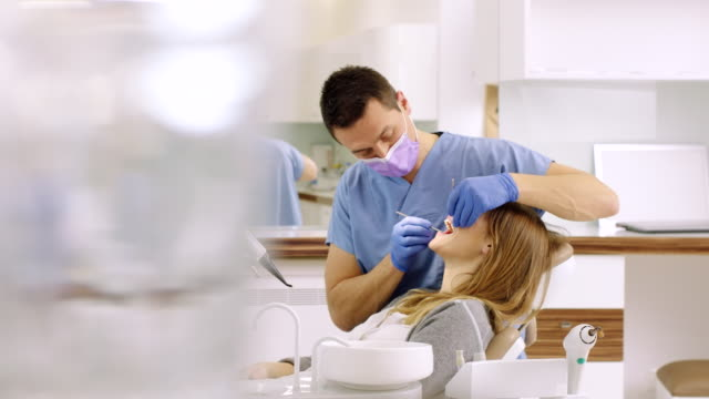 routine check-up at the dentist - dental hygiene stock videos & royalty-free footage