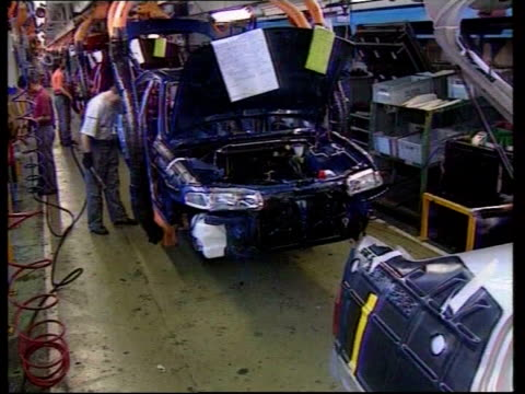 stephen byers; file longbridge: rover plant: workers working on cars on production line - longbridge stock videos & royalty-free footage