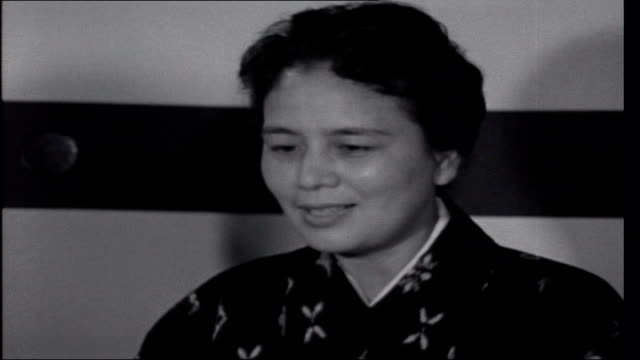 anniversary in tokyo setup shots of reporter into room with mrs tanaka and interview sot talks of marriage of crown prince to a commoner / it is love... - 1950 1959 stock videos & royalty-free footage