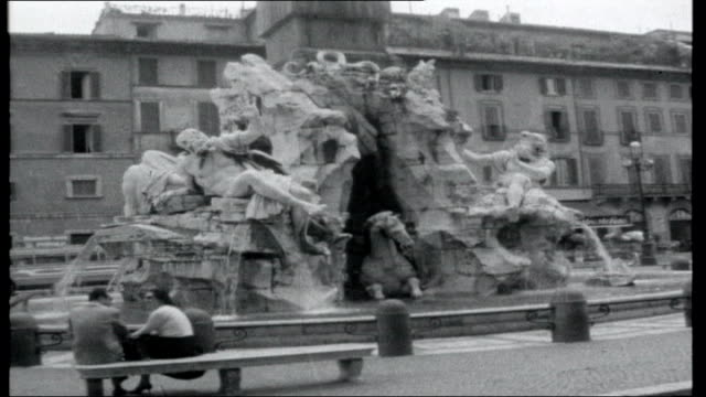 birthday album; italy: rome: ext vittorio emanuele ii monument / trevi fountain / itn reporter robin day and elsa martinelle along in horse drawn... - robin day stock videos & royalty-free footage