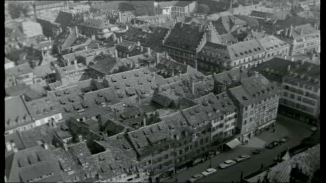 bridge across the rhine; france: strasbourg: ext * * music overlay sot * * opening credits / reporter to camera / general view of newly built road... - rhein stock-videos und b-roll-filmmaterial