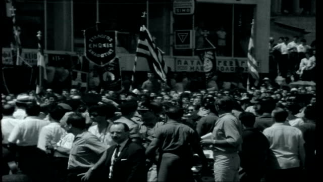Cyprus A General Returns / Calcutta CYPRUS Nicosia EXT Opening Titles Crowds in Nicosia square greeting General George Grivas on his return to...