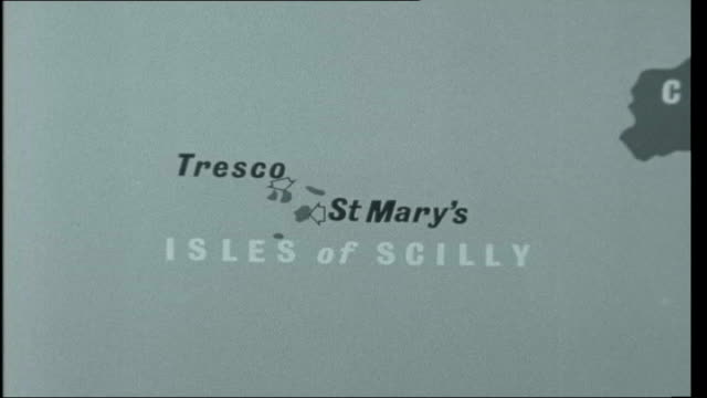 deep freeze paradise map of scilly isles tresco general views of beaches and cliffs/ tresco post office overlooking harbour/ new hotel - isles of scilly stock videos & royalty-free footage