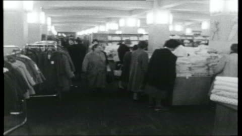 east germany now; weimar: long line of housewives queuing up to buy cabbages at market stall / general views of shoppers along in high street, shop... - weimar stock videos & royalty-free footage