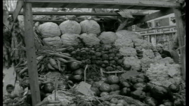 vidéos et rushes de egypt goes back to the nile; people about in street in slum area gvs of slum housing pedestrians and traffic along town street gv market area food... - 1950 1959