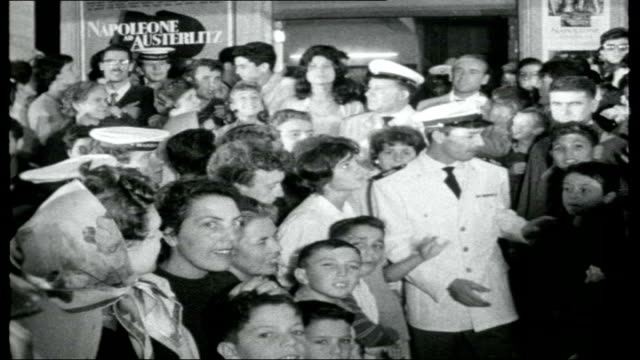 elba: island of napoleon; outdoor cafe signs for various restaurants night various of film premiere of 'austerlitz' , including crowds of people... - island of elba stock videos & royalty-free footage