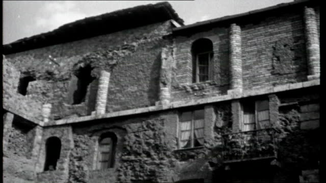 gateway to italy; aosta: general views of town and old buildings including ruins of roman buildings various general view of old roman theatre ruins... - world war one stock videos & royalty-free footage