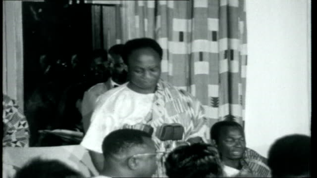 ghana to gambia; int state dinner with royals and others sitting as nkrumah making speech - talks about changes in africa happening very quickly /... - tradition stock videos & royalty-free footage
