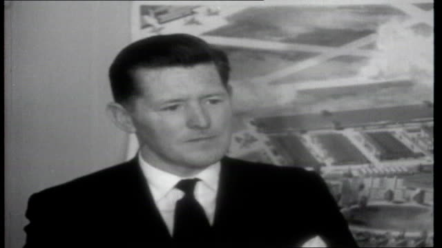 irish republic 1961 sequence fork lift truck loading piles of boxes onto aircraft at shannon airport brendan o'reagan interview sot talks about... - overtaking stock videos and b-roll footage